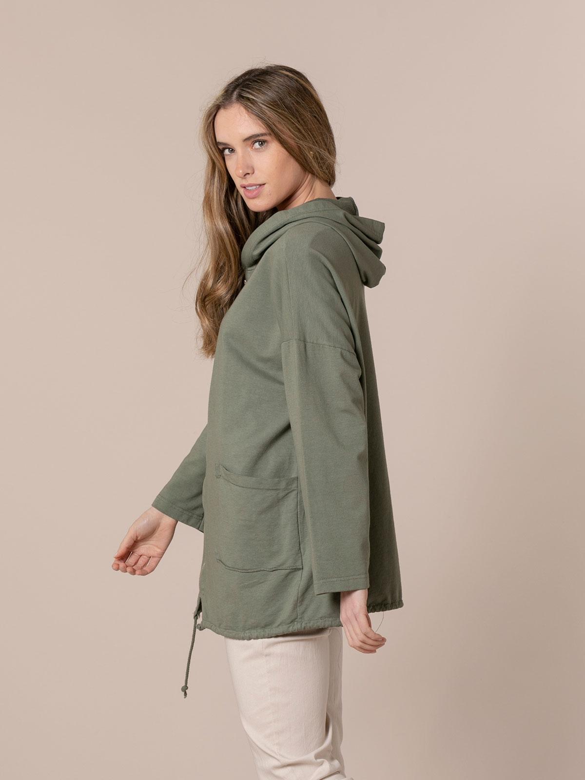 Woman Zip-up sweatshirt with pockets Khaki