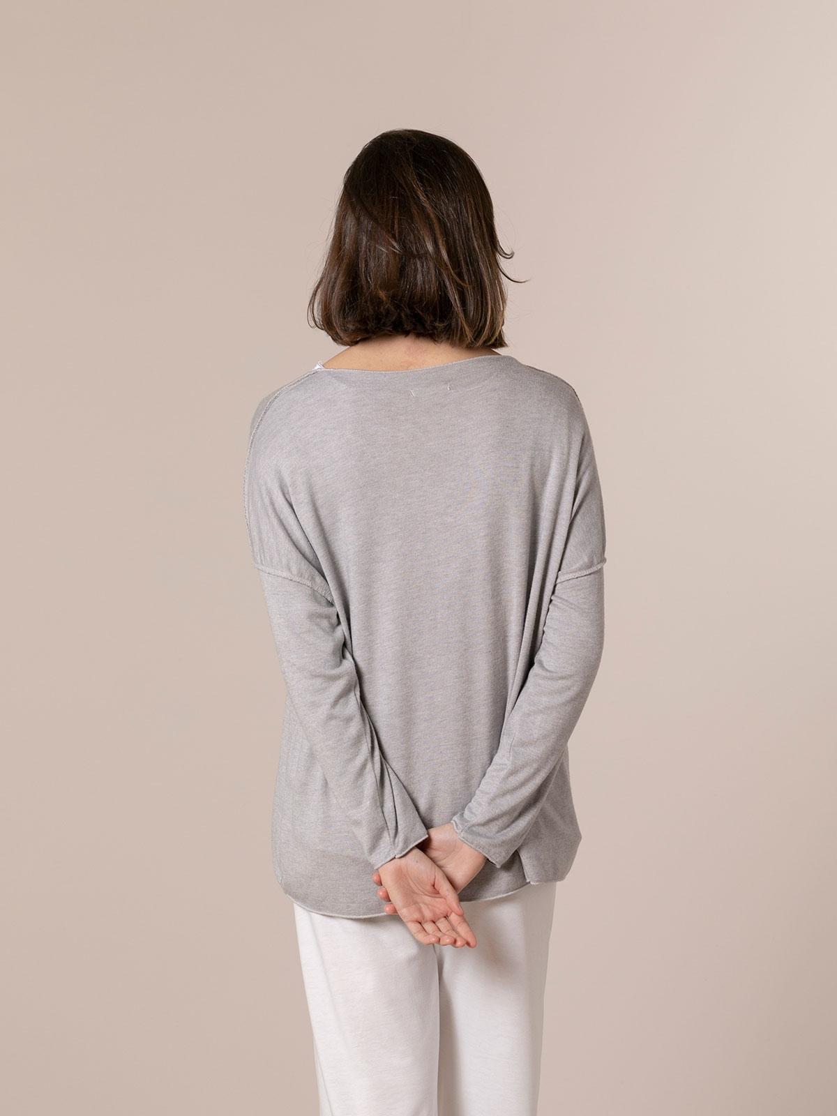 Woman Seam knit T-shirt Grey