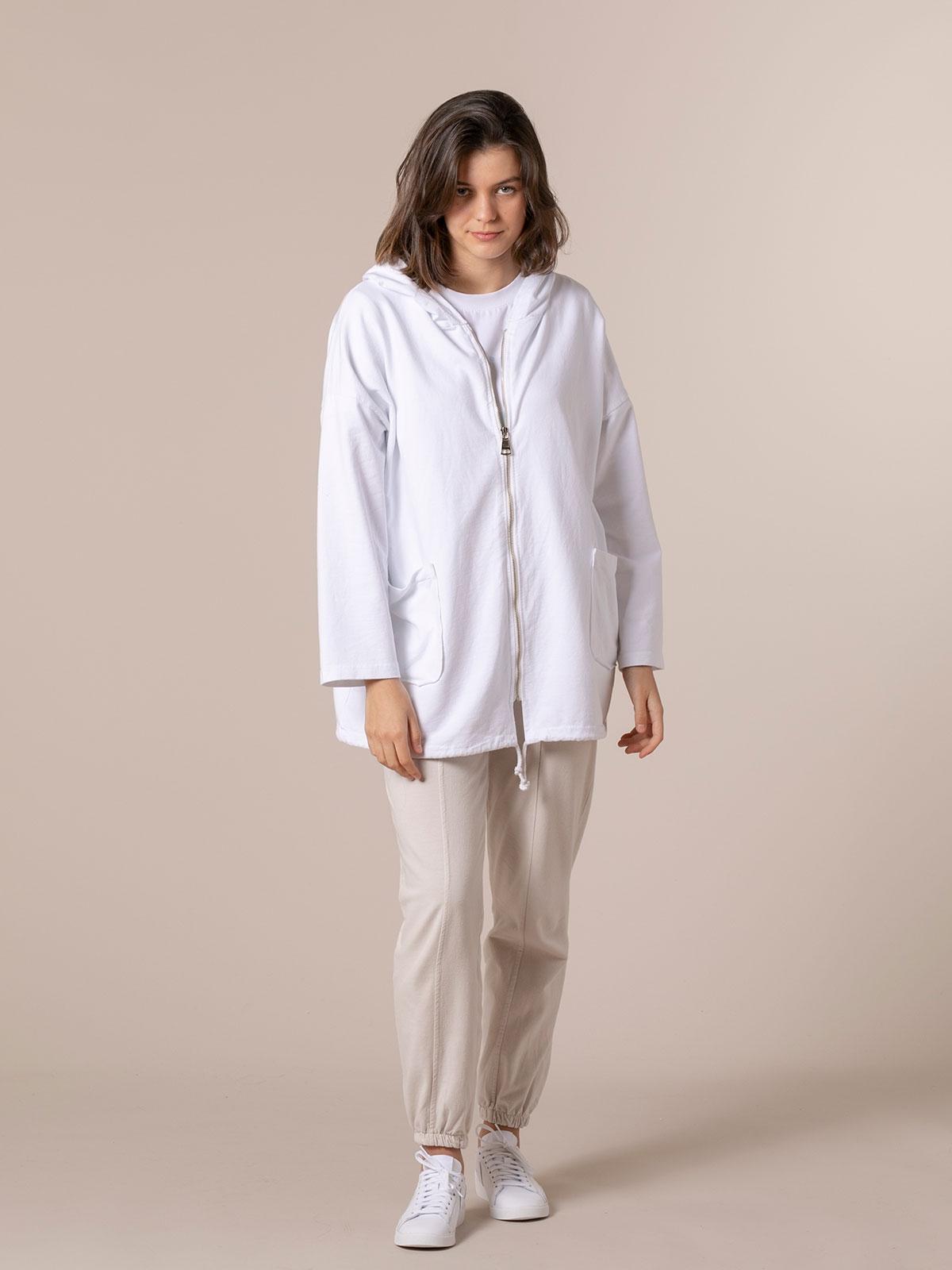 Sudadera mujer cremallera y bolsillos Blanco