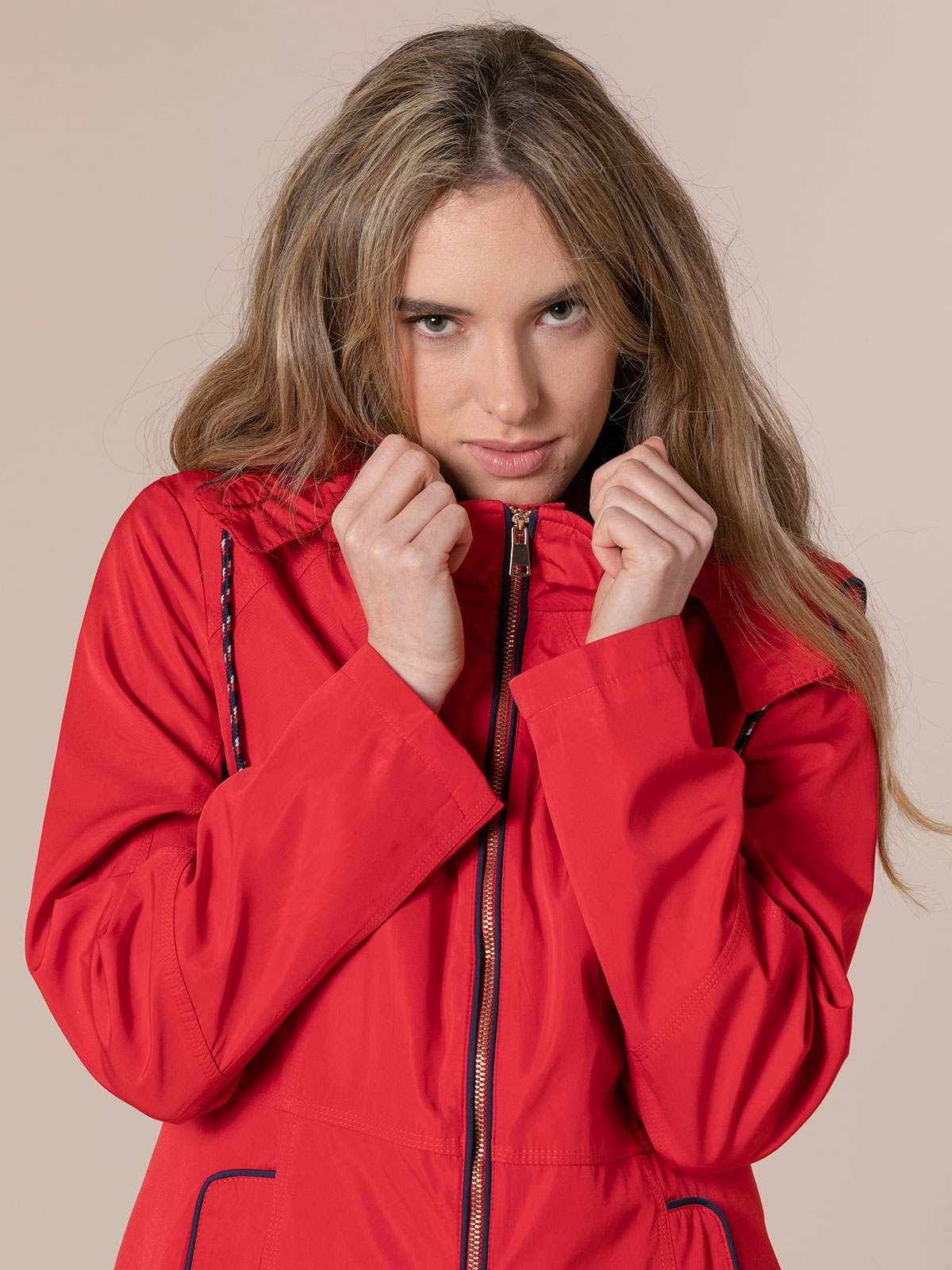 Woman Woman Hooded parka Red