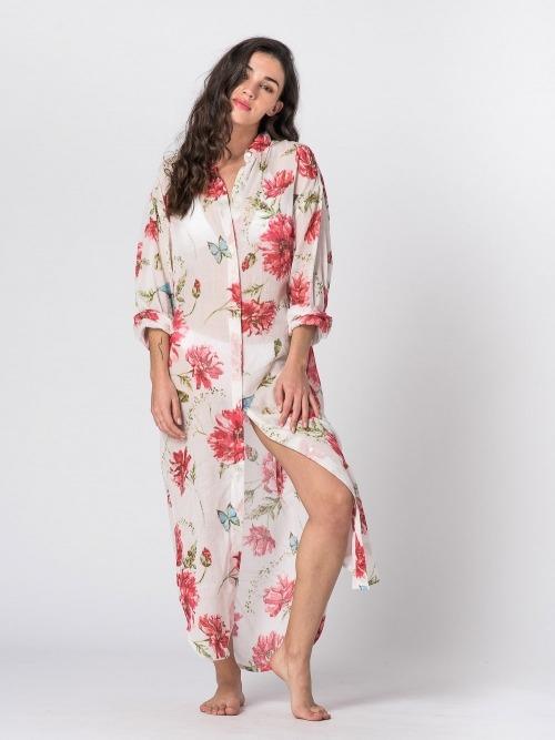 Vestido largo camisero estampado botones mujer Rosa