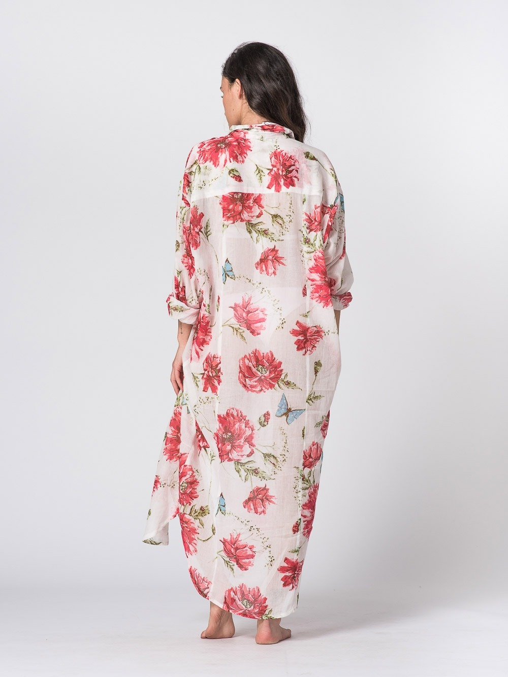Vestido largo camisero estampado Rosa