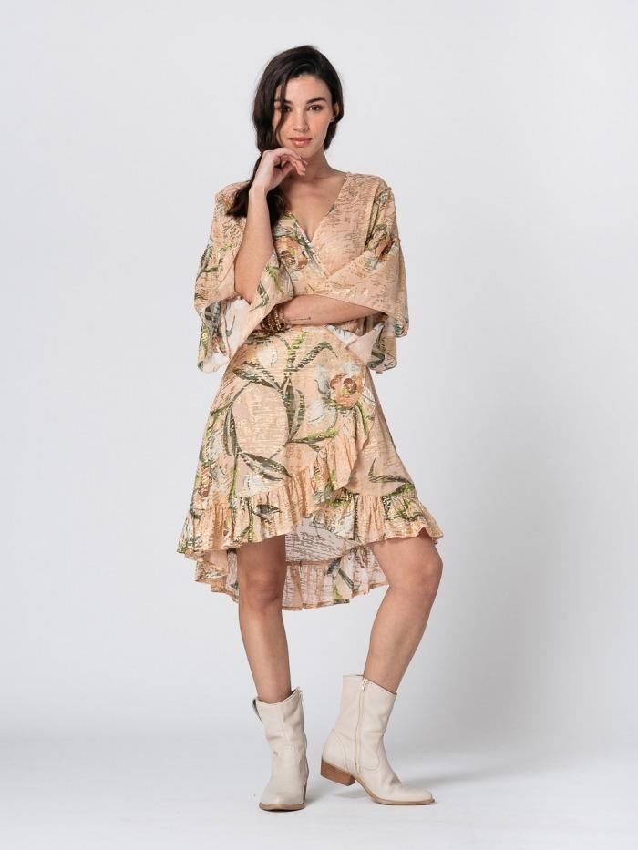 Vestido algodón estampado volantes brillo mujer Rosa