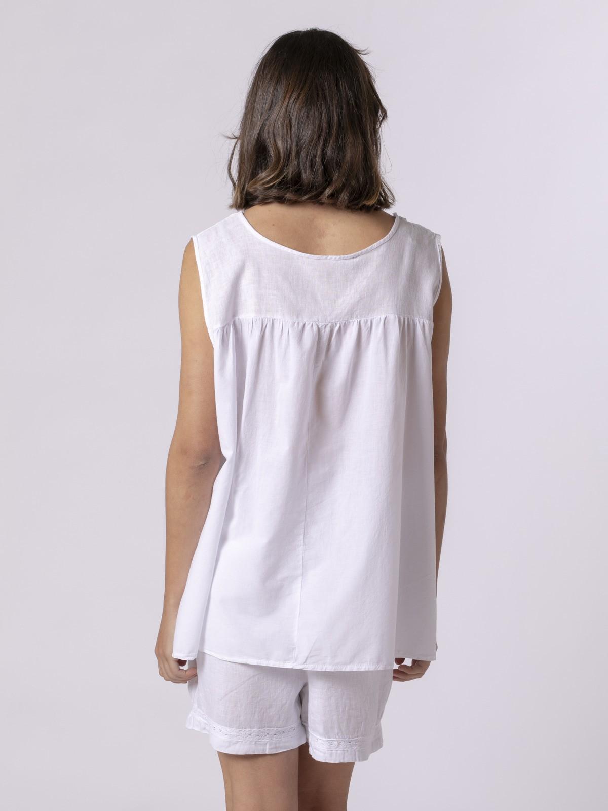 Camisa oversize lino pico Blanco