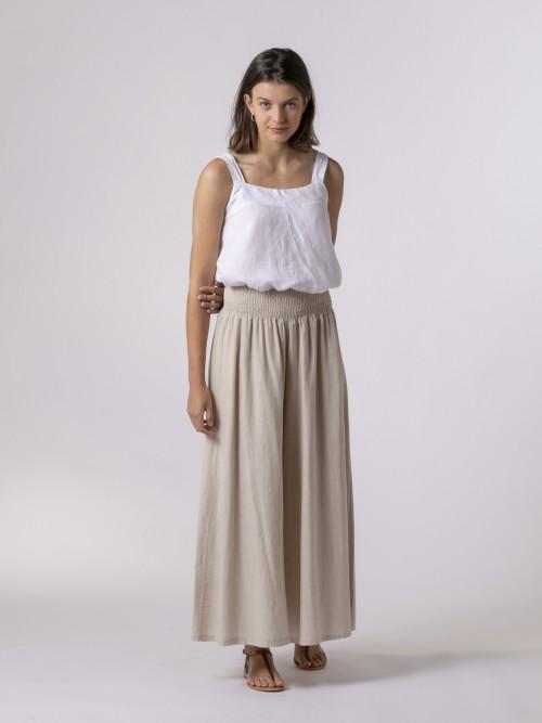 Pantalón de lino mujer oversize Beige