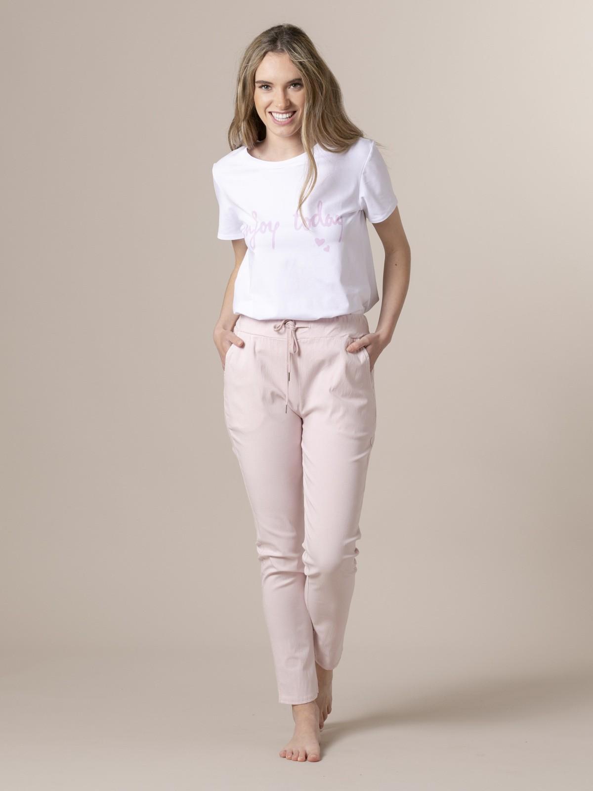 Pantalón mujer sport elástico algodón Rosa