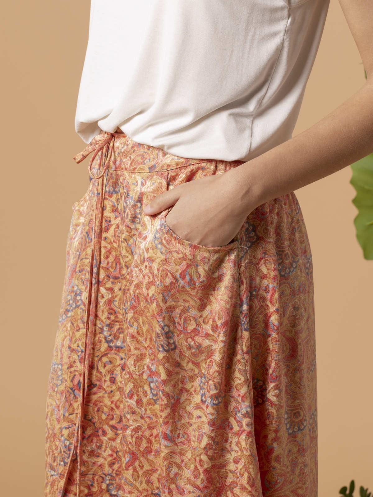Falda mujer fluida estampada Rosas claros