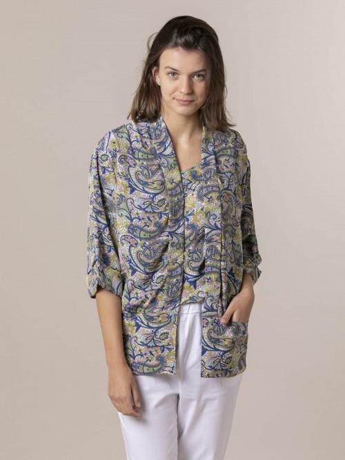 Woman Woman  Flowy printed jacket Bluees