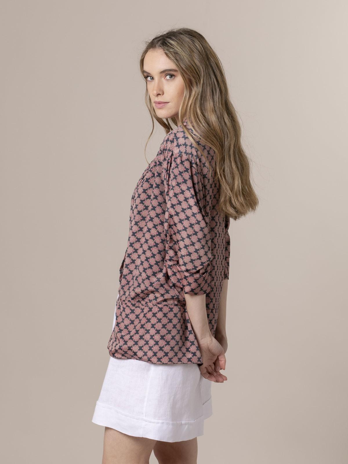 Woman Woman  Flowy printed jacket Grey/Pink