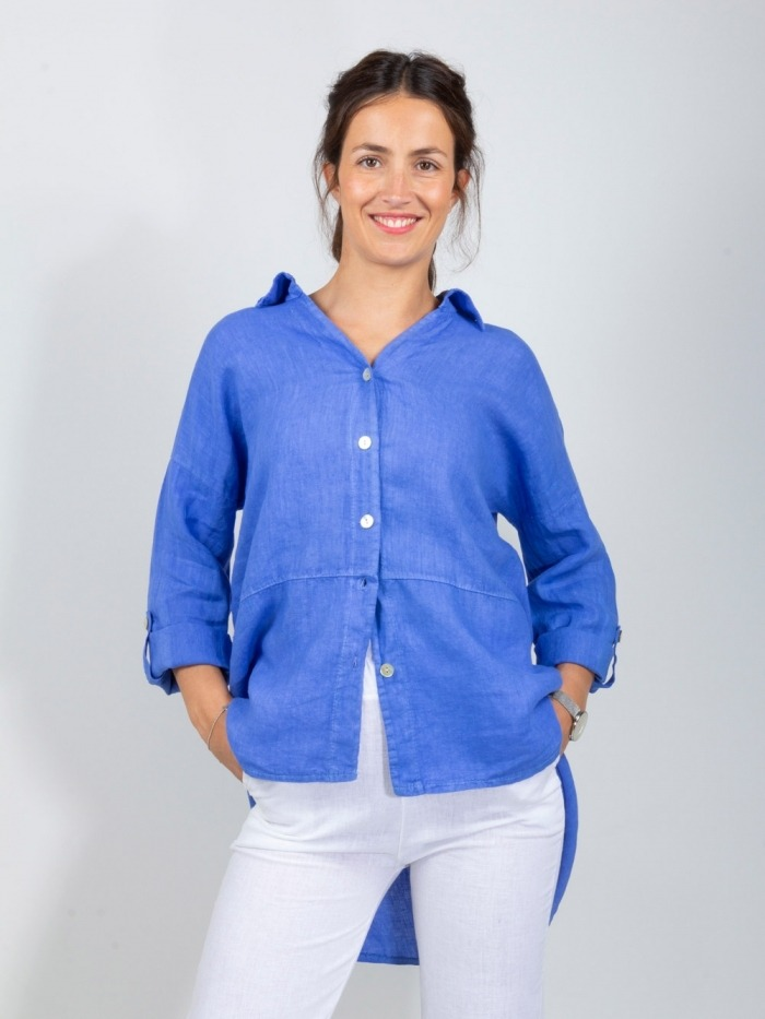 CAMISA LINO BOYFRIEND Blue