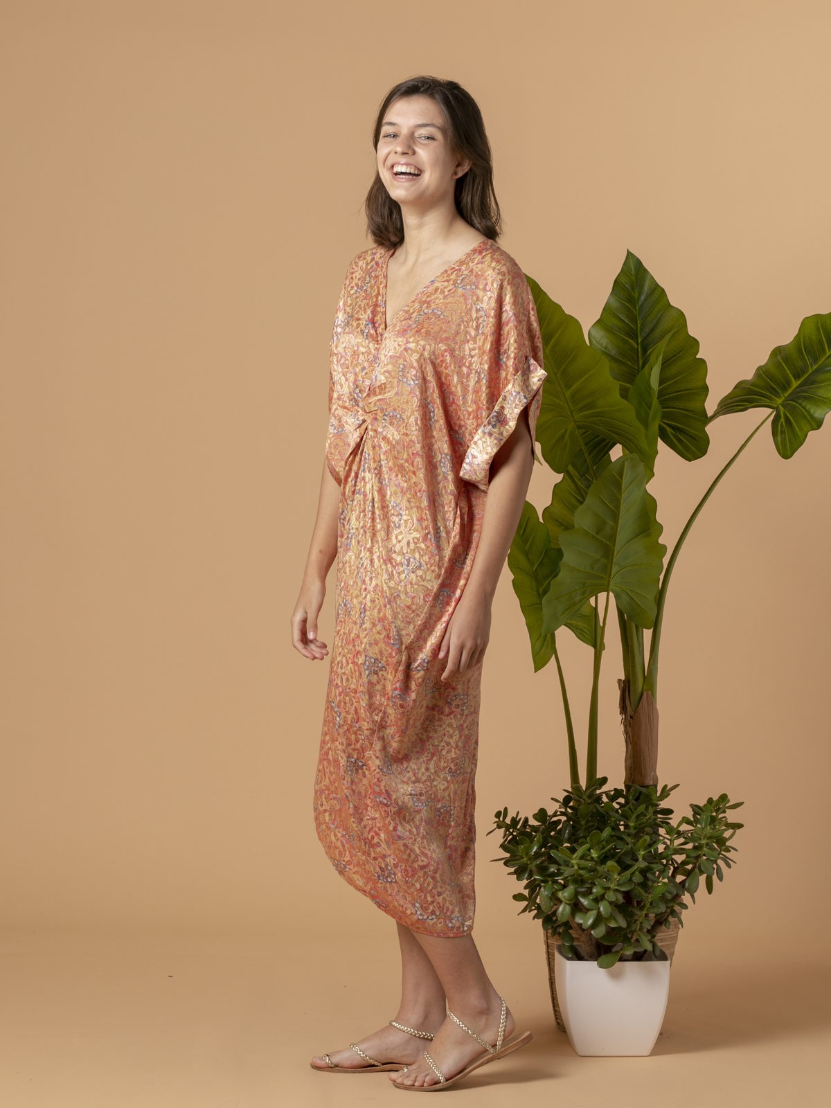 Woman Woman Printed midi dress Pink claro
