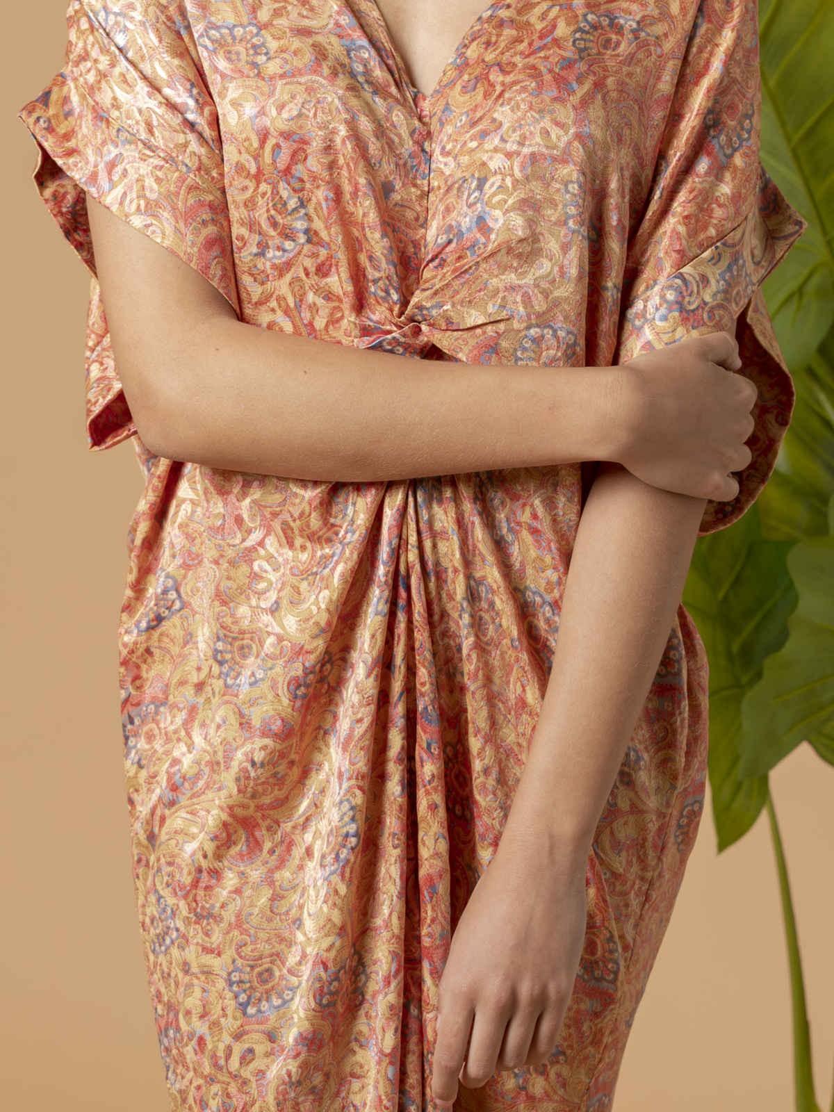 Vestido midi estampado Rosa claro