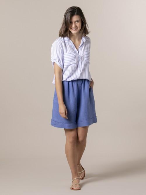 Woman 100% linen bermuda Blue