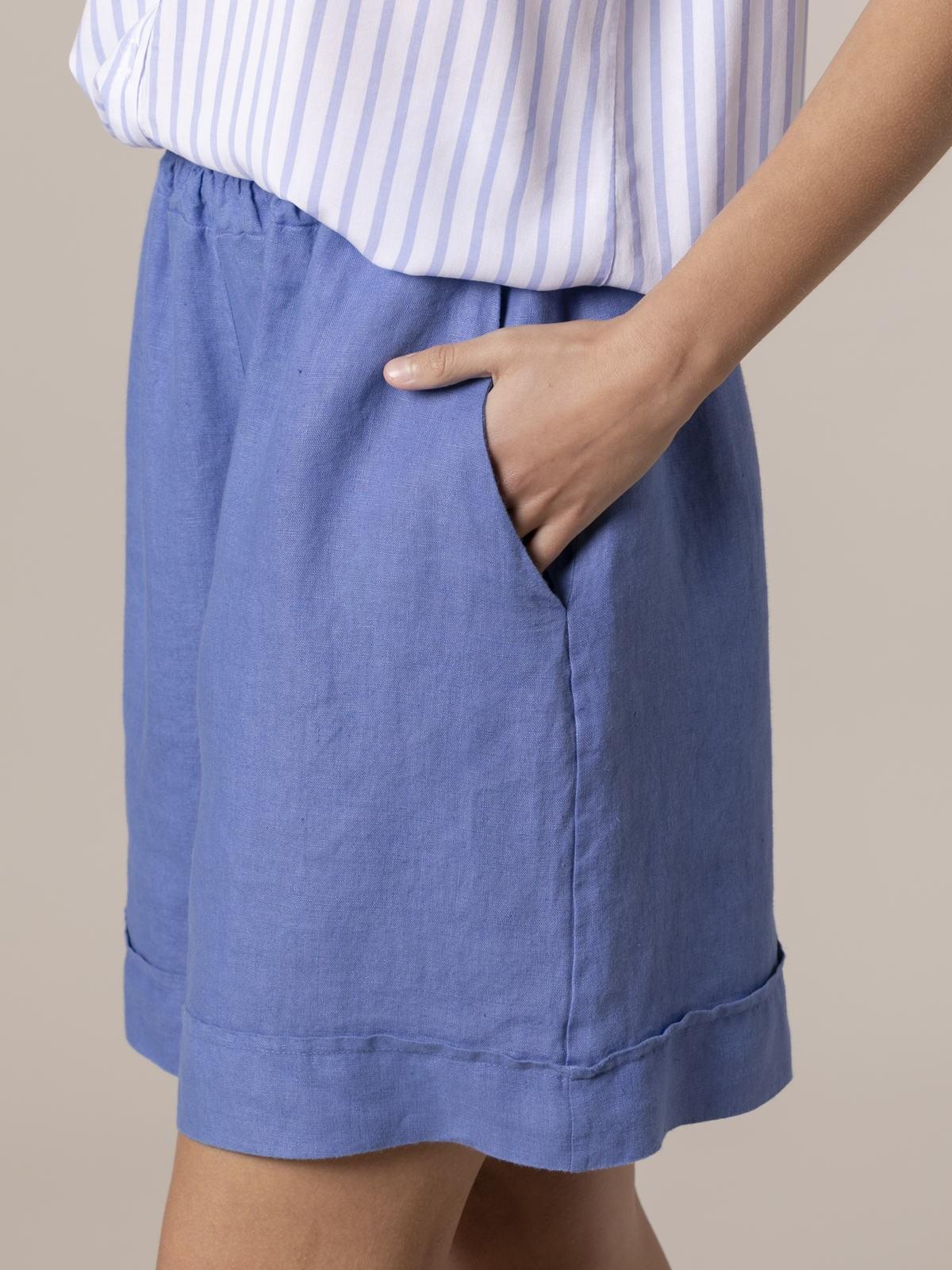 Woman Woman 100% linen bermuda Blue