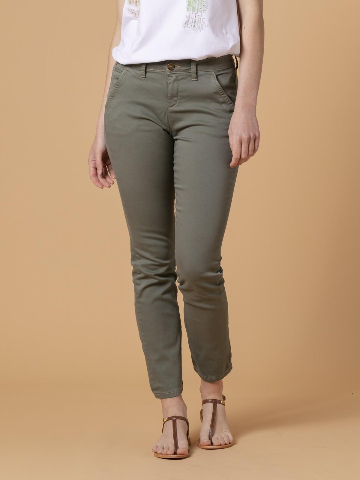 Pantalón chino mujer algodón elastico Caqui