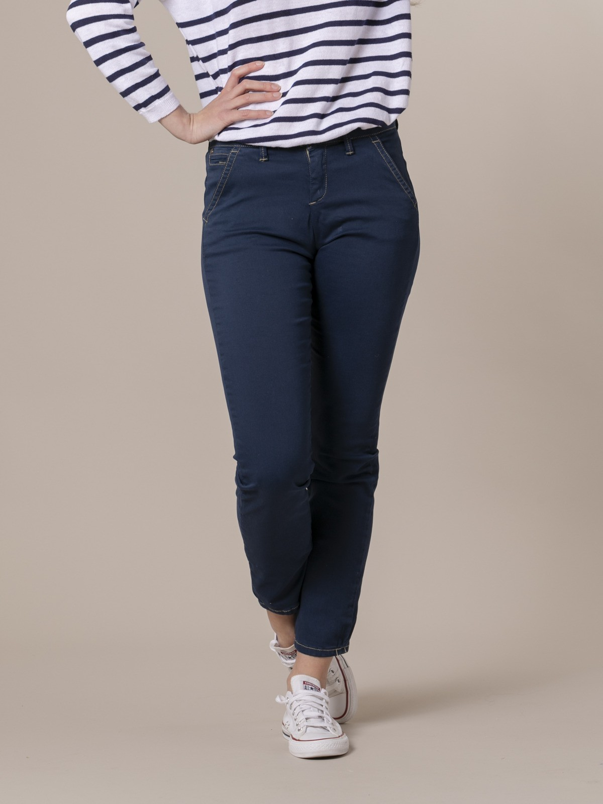 Woman Woman Stretch cotton chinos Blue Navy
