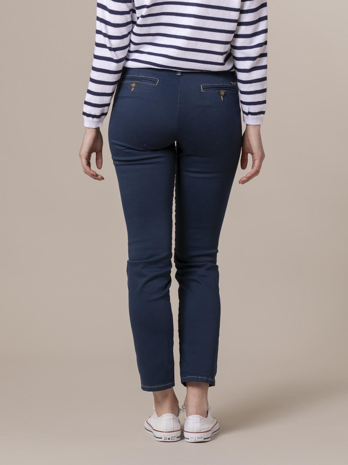 Pantalón chino algodón elastico Azul Marino