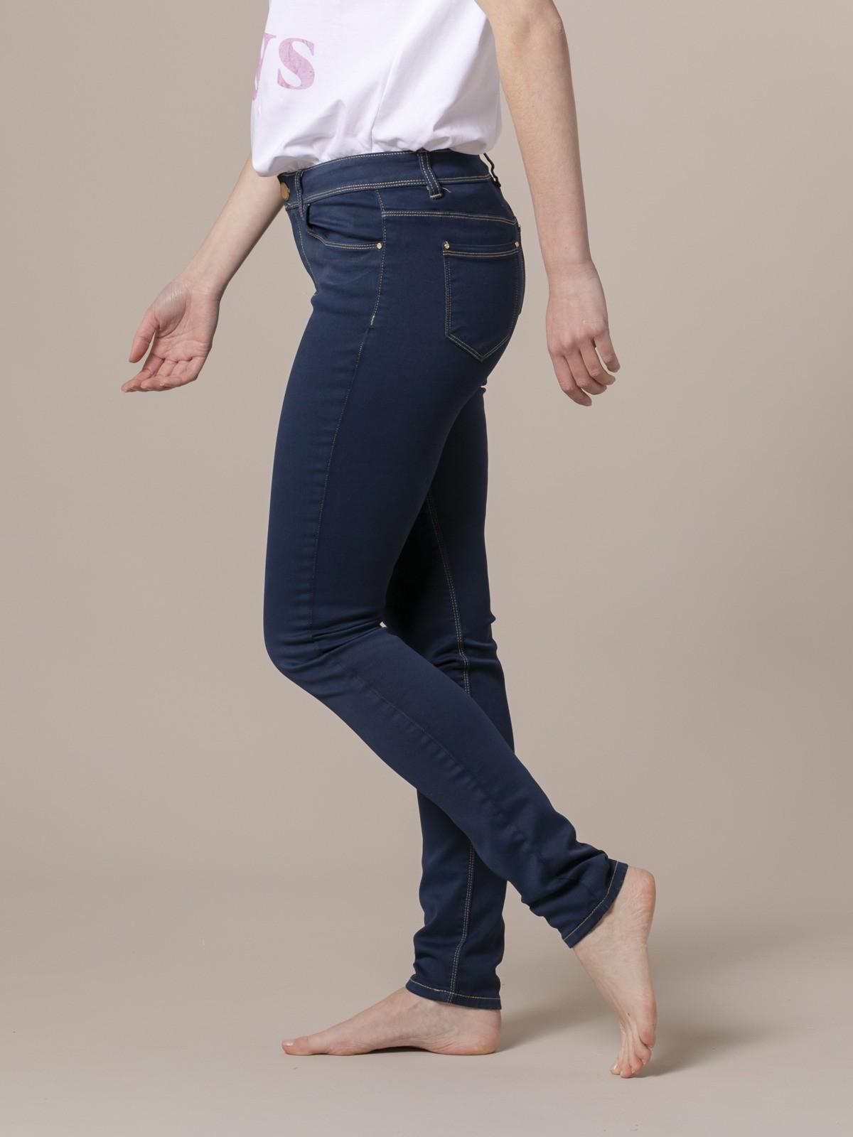 Woman Woman Elastic 5 pocket pants Blue Navy