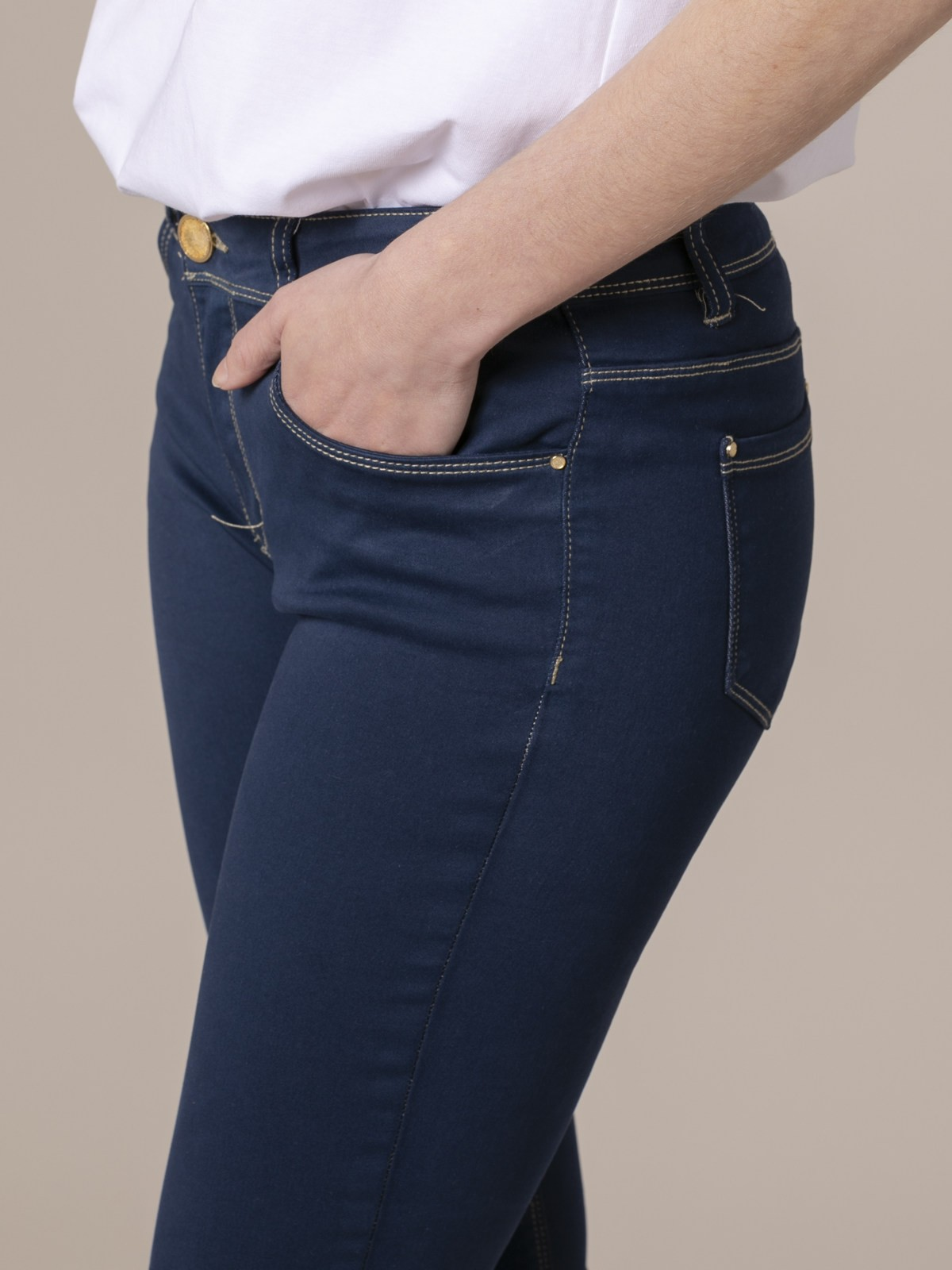 Pantalón 5 bolsillos elastico Azul Marino
