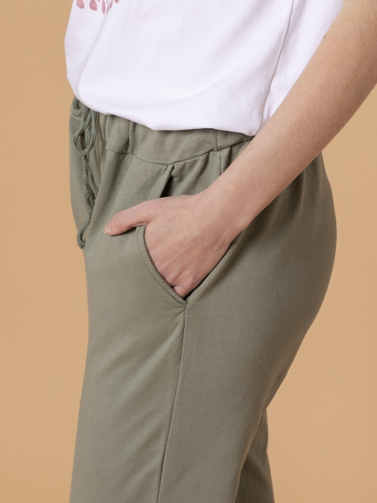 Pantalón mujer sport felpa Caqui