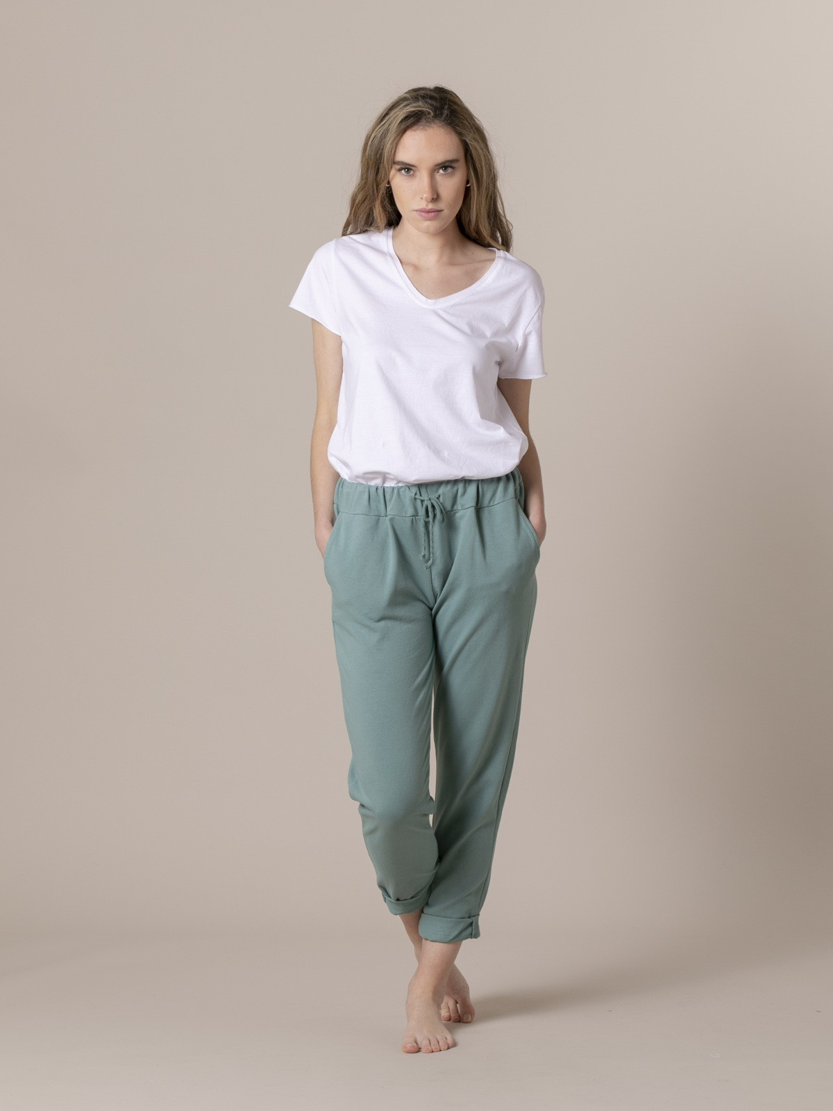 Woman Woman Plush sport trousers Green