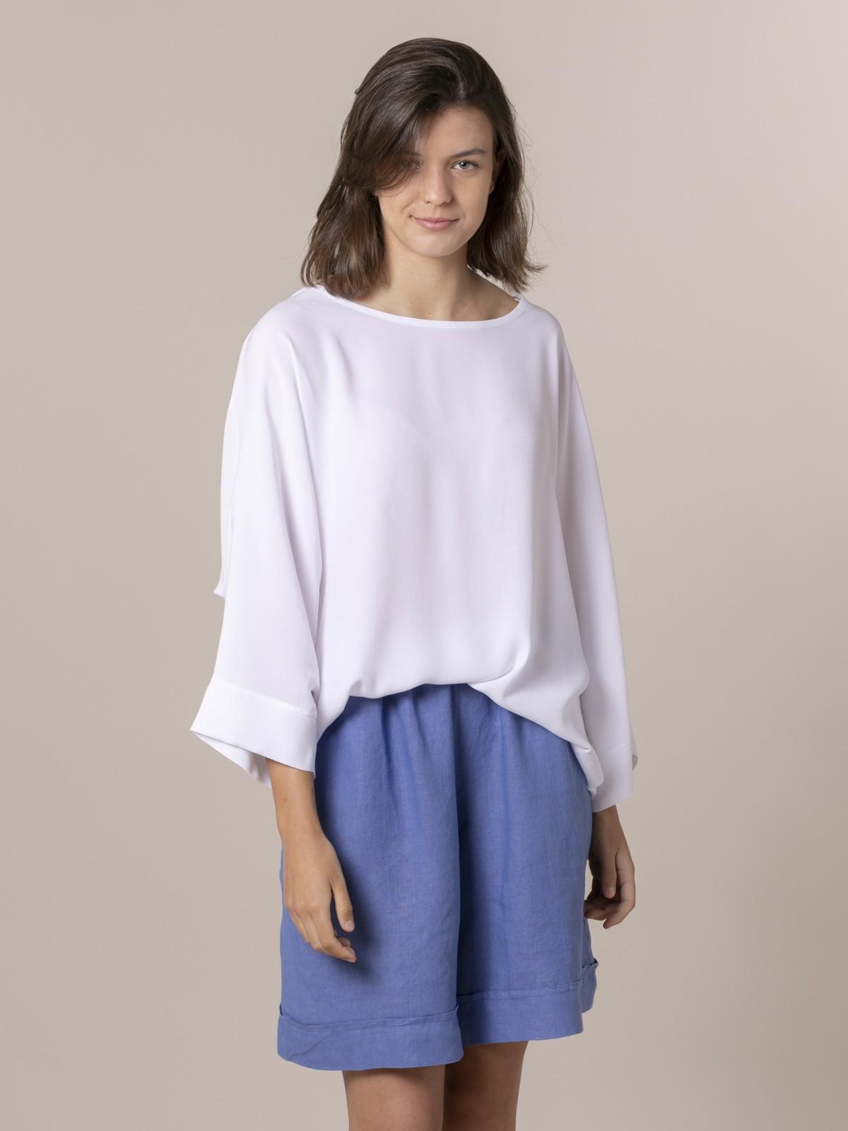 Blusa mujer oversize manga larga Blanco