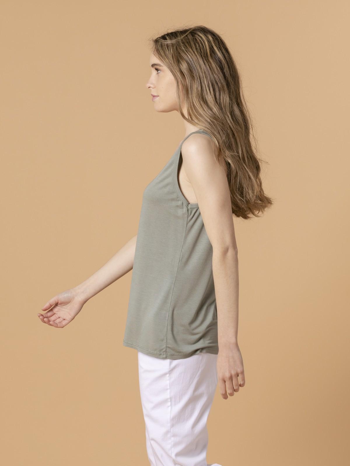 Camiseta mujer tirante ancho Caqui