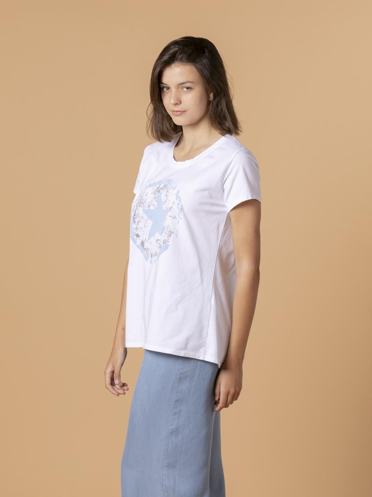 Camiseta mujer estrella converse Azul