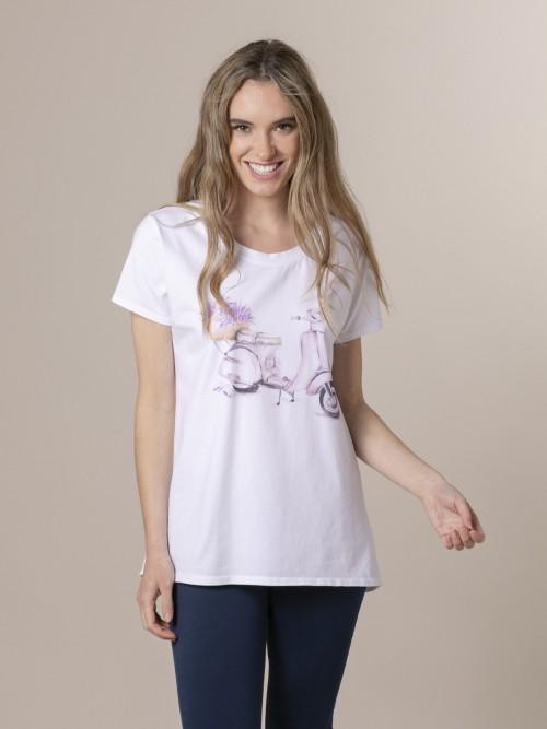 Camiseta mujer estampada digital Lila