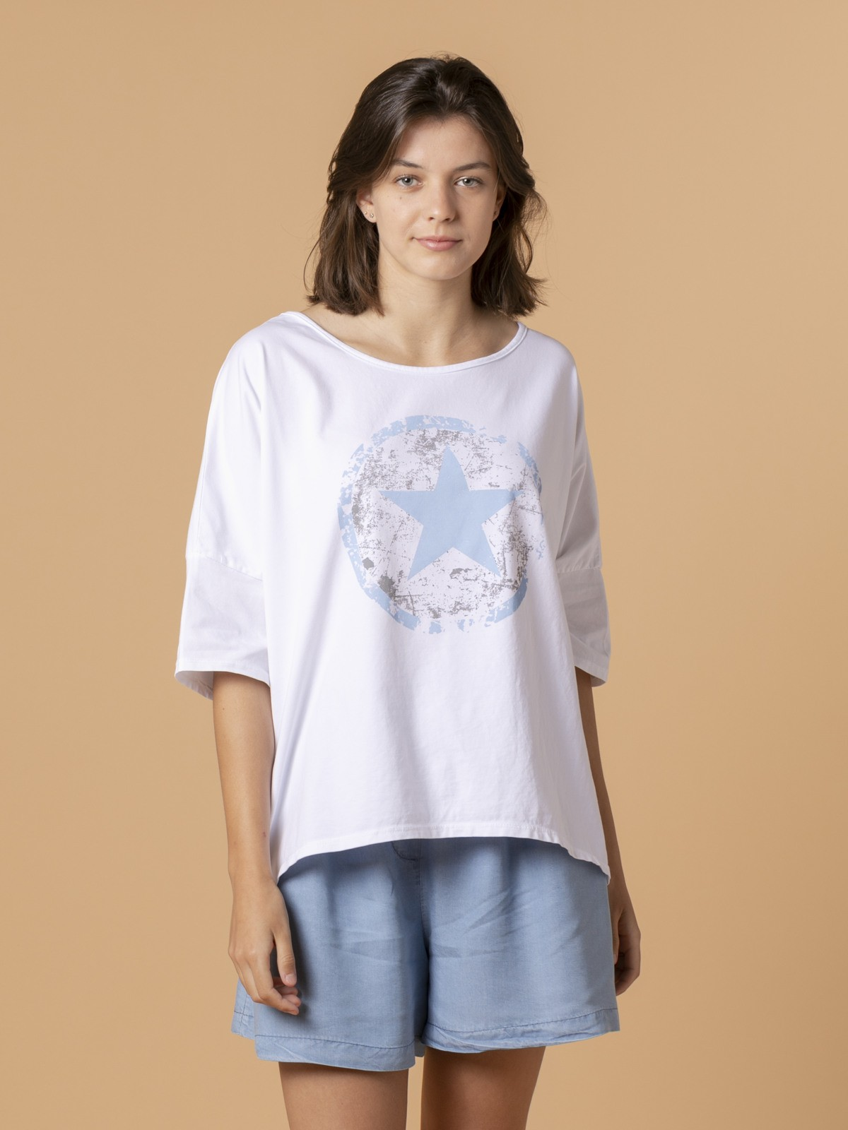 Woman Woman Star print T-shirt Blue
