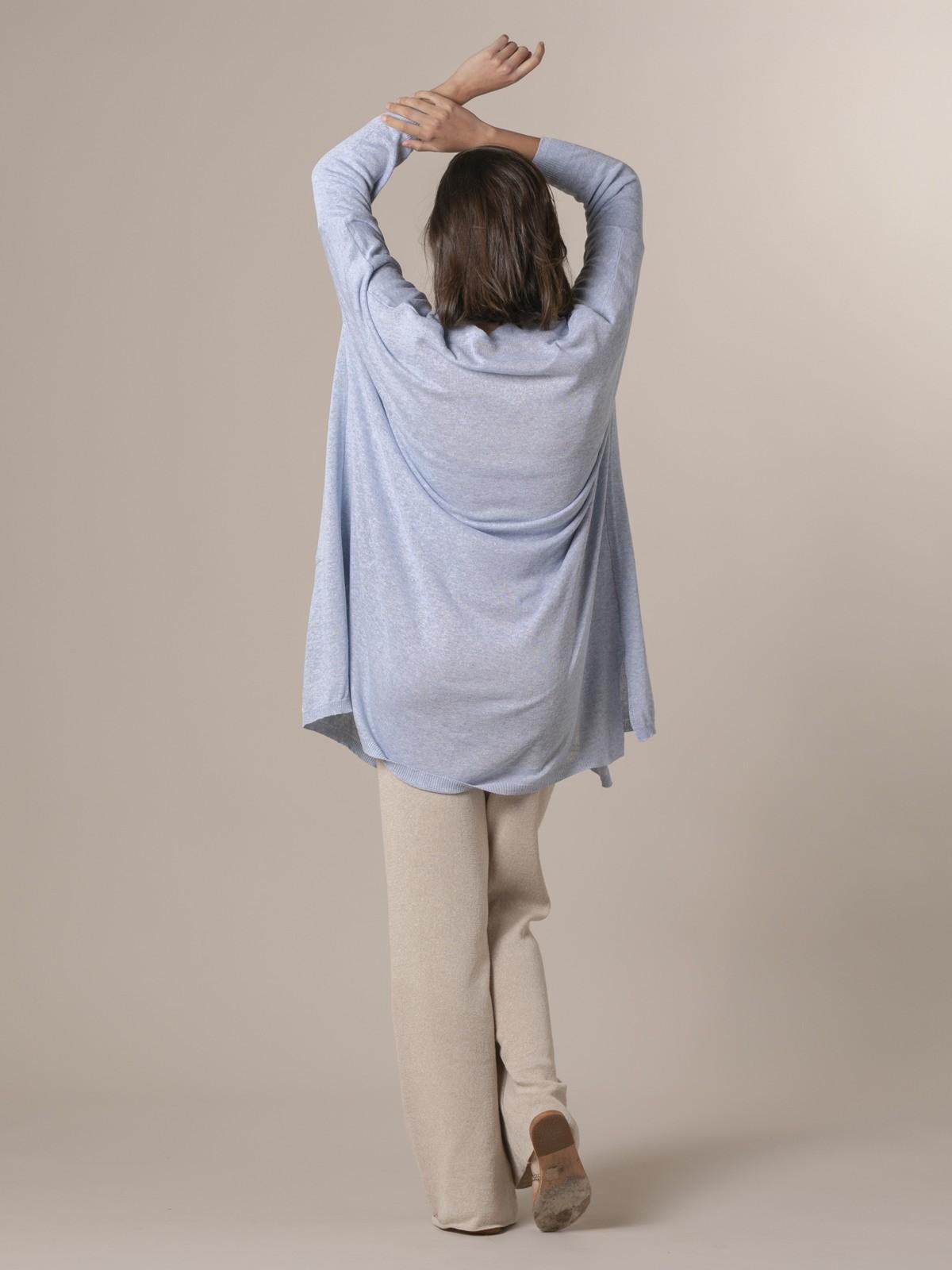 Chaqueta punto mujer larga Azul