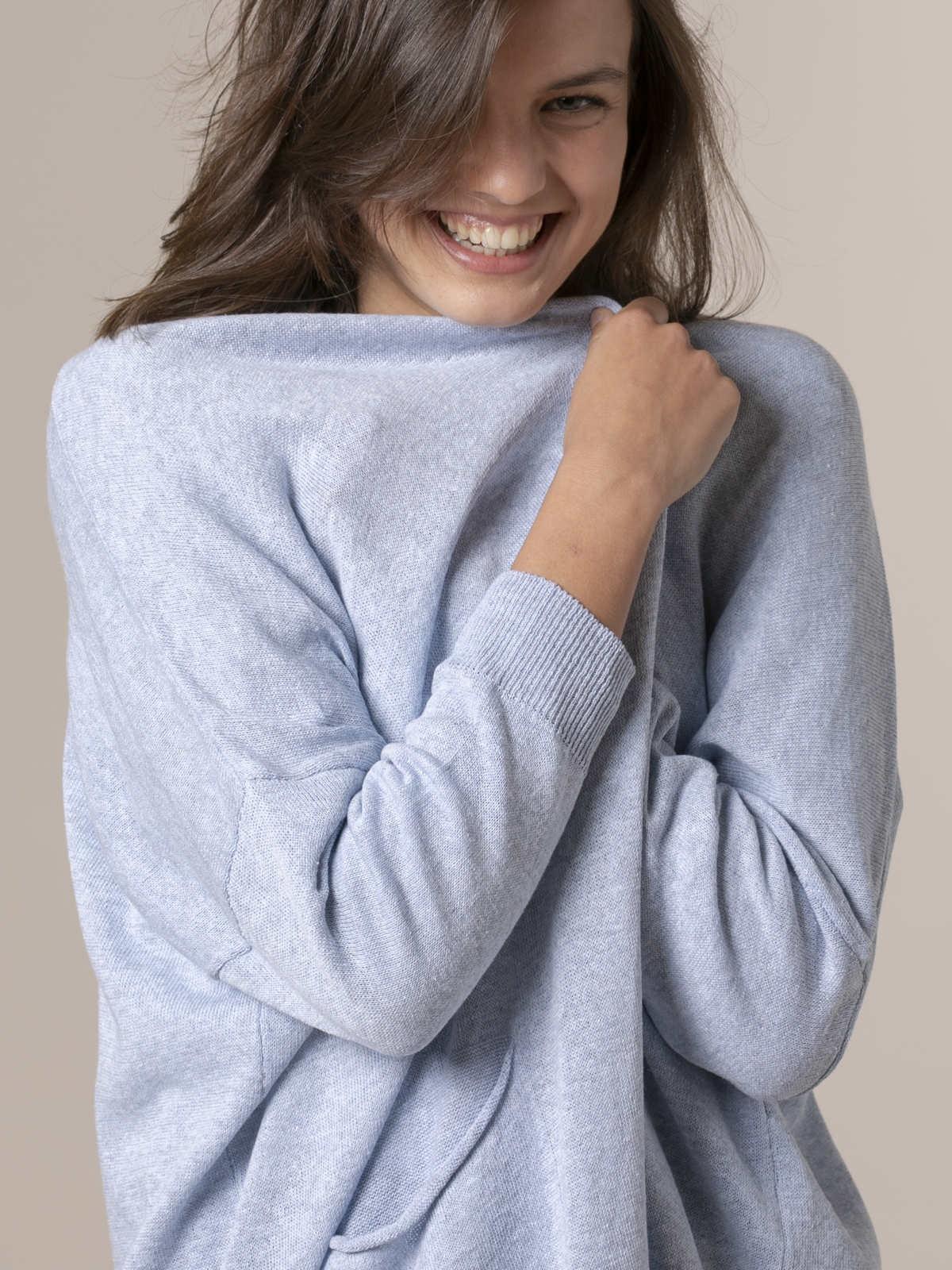 Woman Woman Long knit jacket Blue
