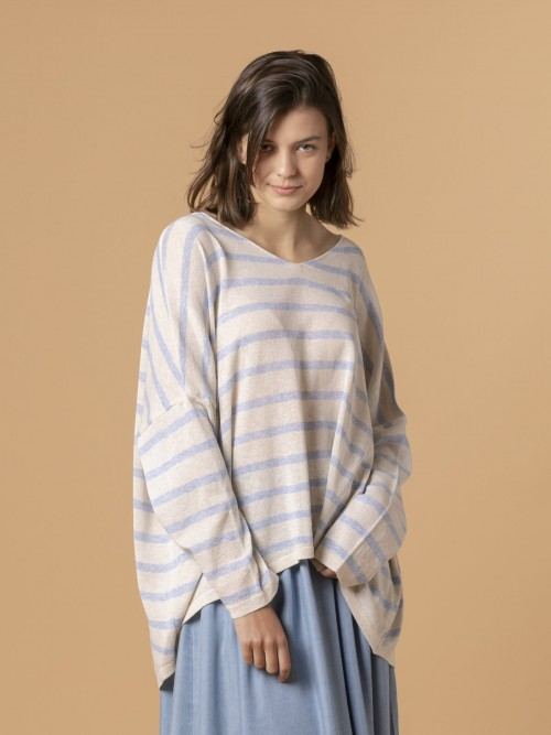 Woman Woman Striped cotton sweater Blue