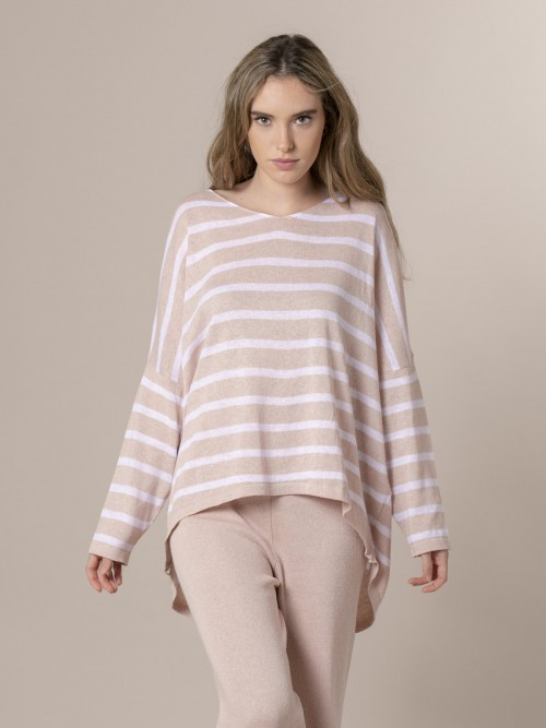Woman Woman Striped cotton sweater Pink
