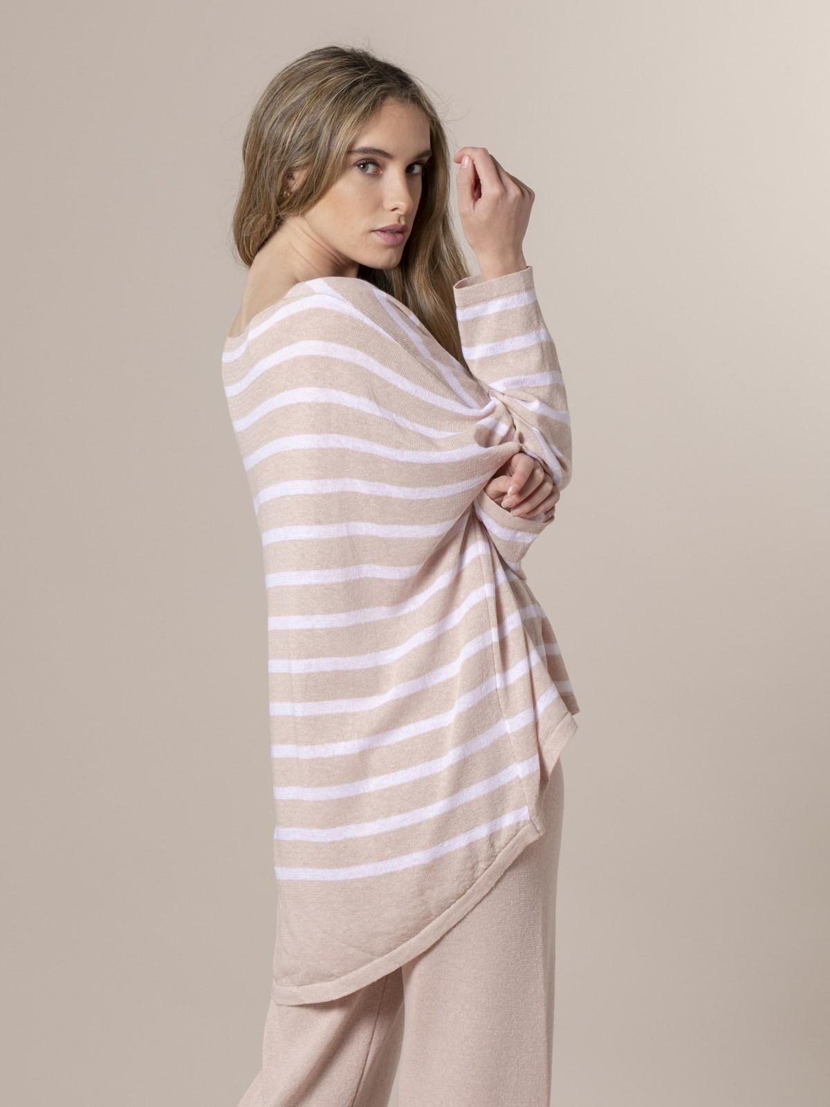 Woman Woman Striped cotton sweater Pink