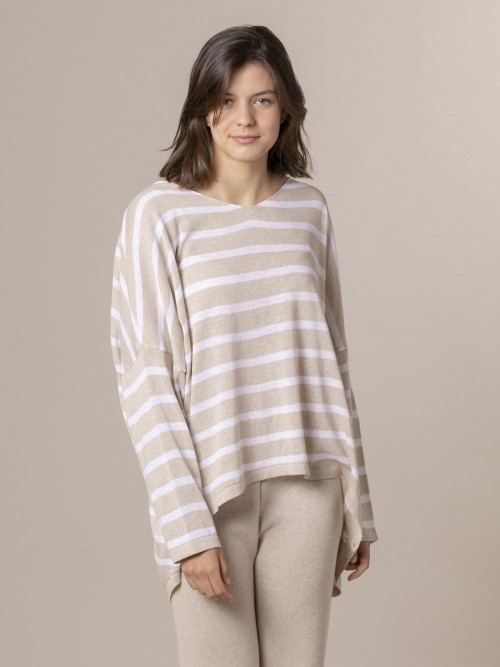 Woman Woman Striped cotton sweater Beige