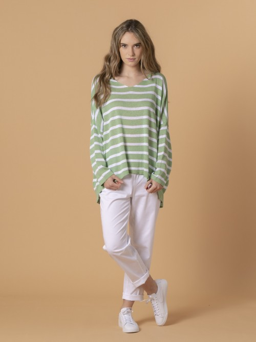 Woman Woman Striped cotton sweater Green