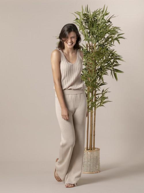 Pantalón mujer de punto algodón Beige