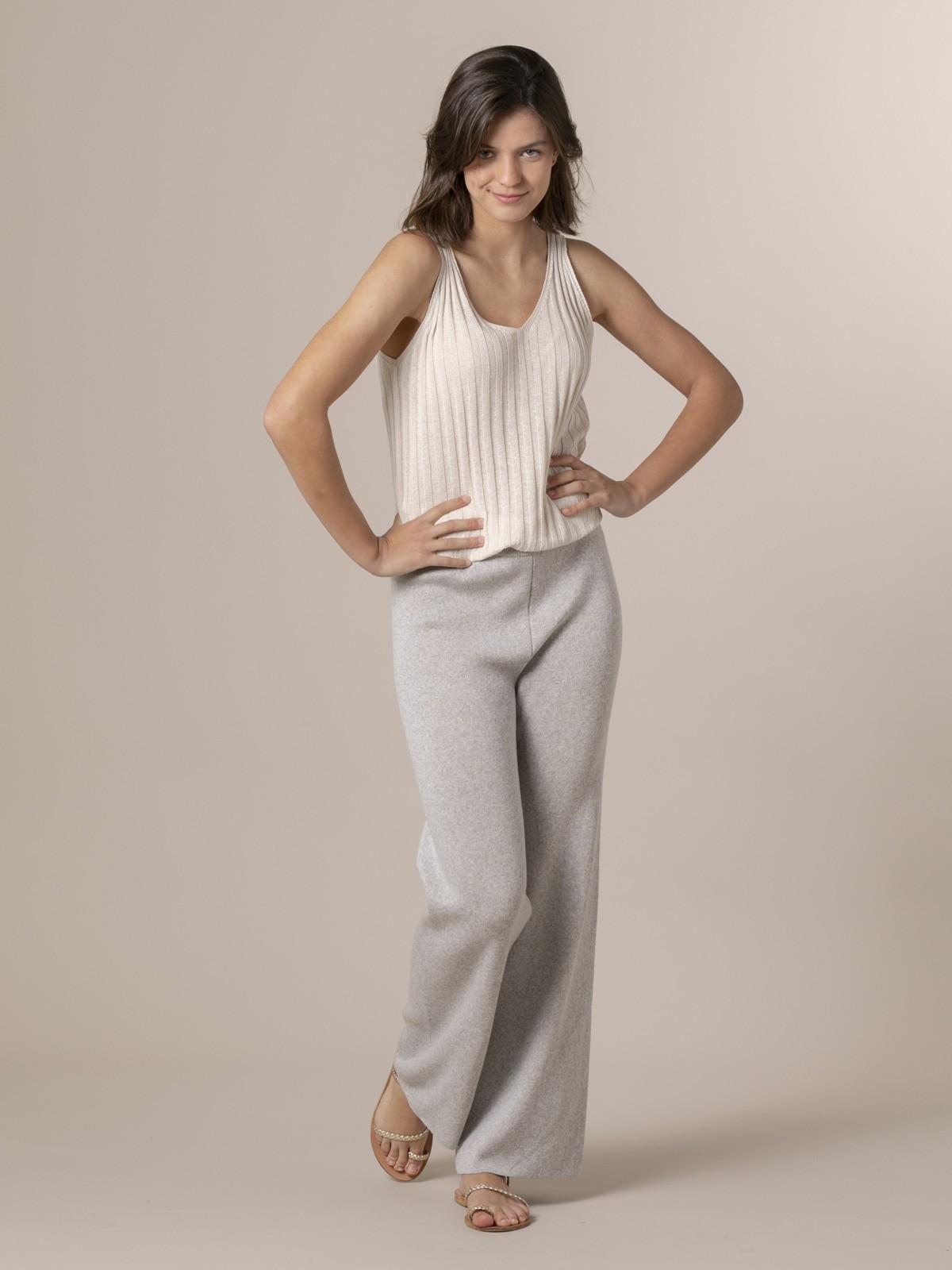 Pantalón mujer de punto algodón Gris