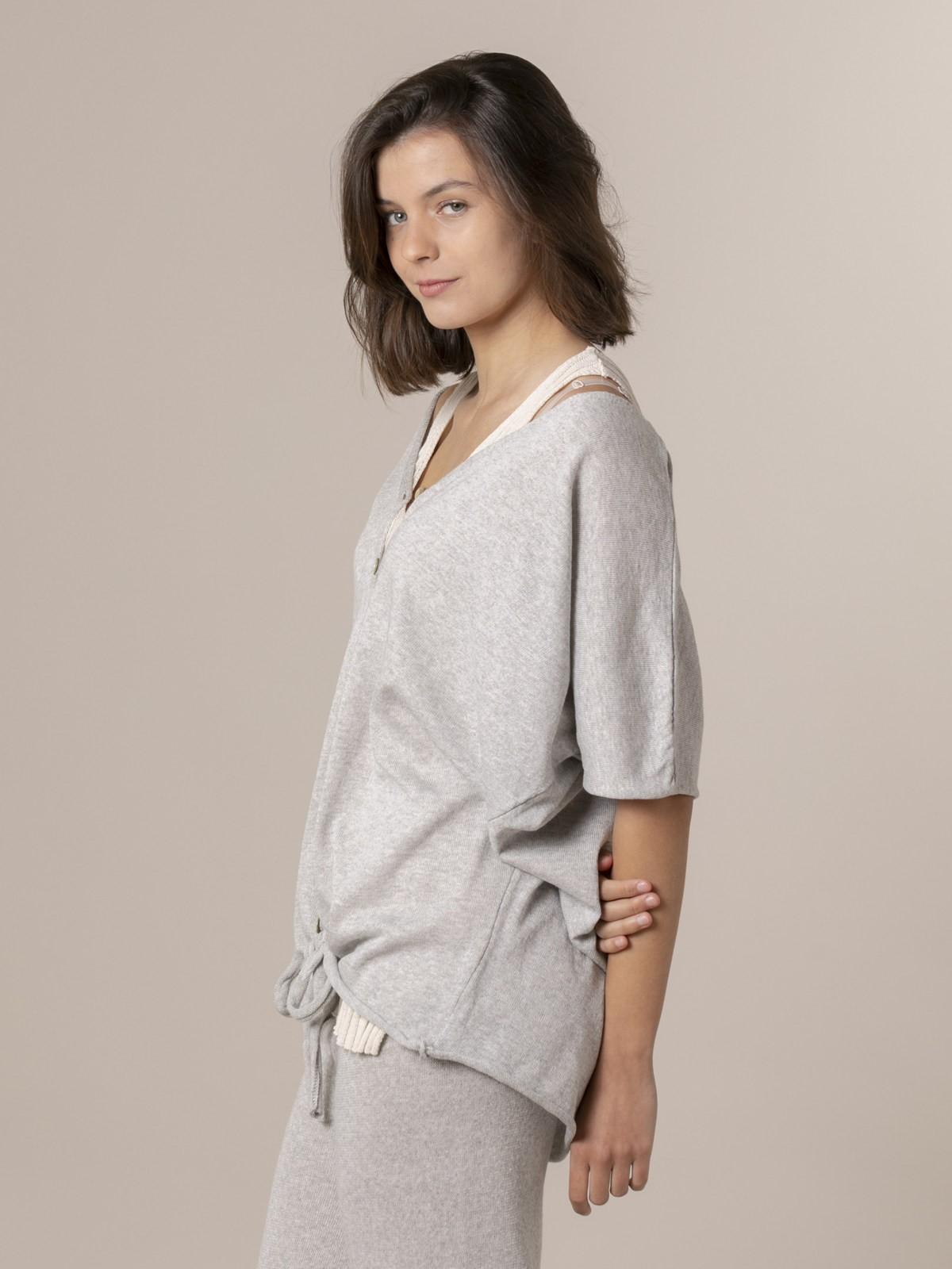 Woman Woman Cotton knit jacket Grey