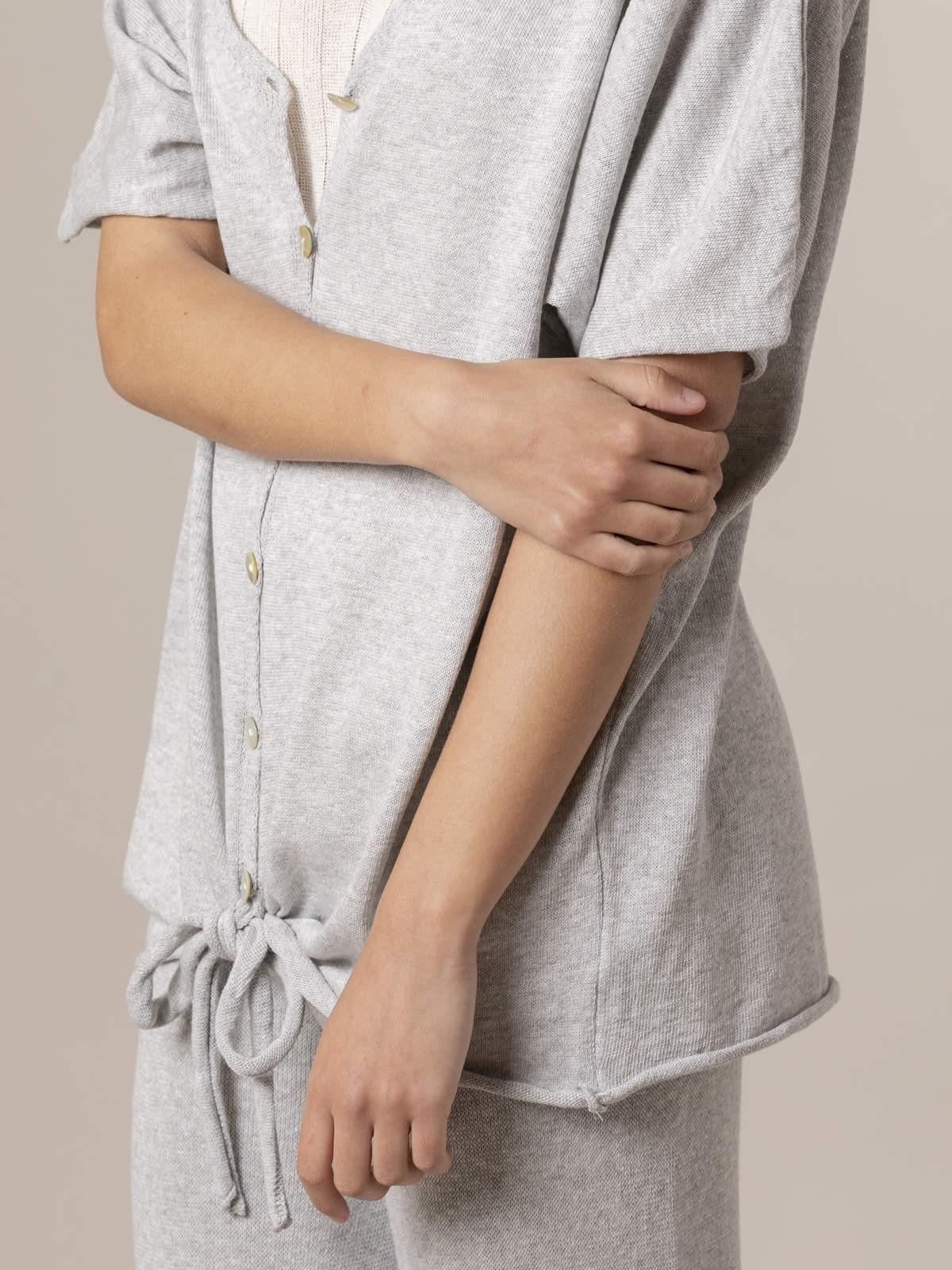 Chaqueta punto de mujer algodón Gris