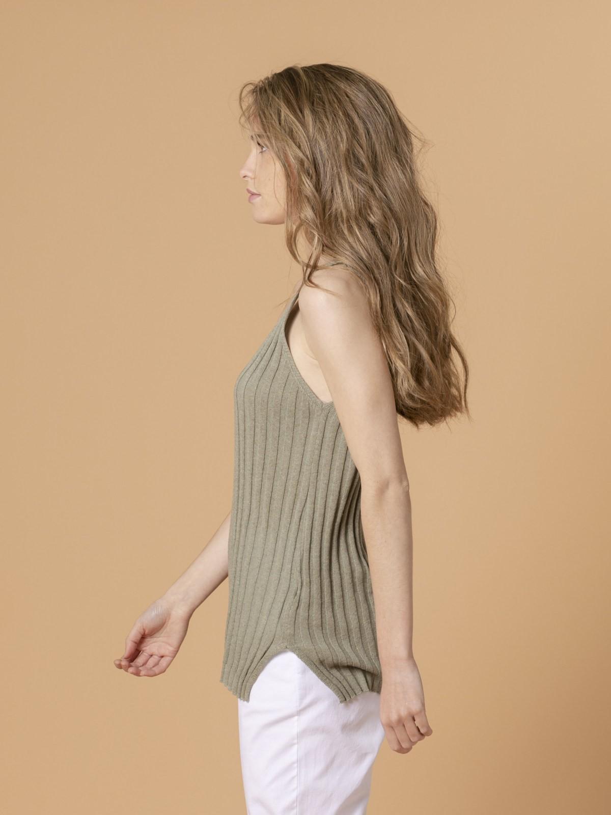 Woman Woman Cotton rib knit top Khaki