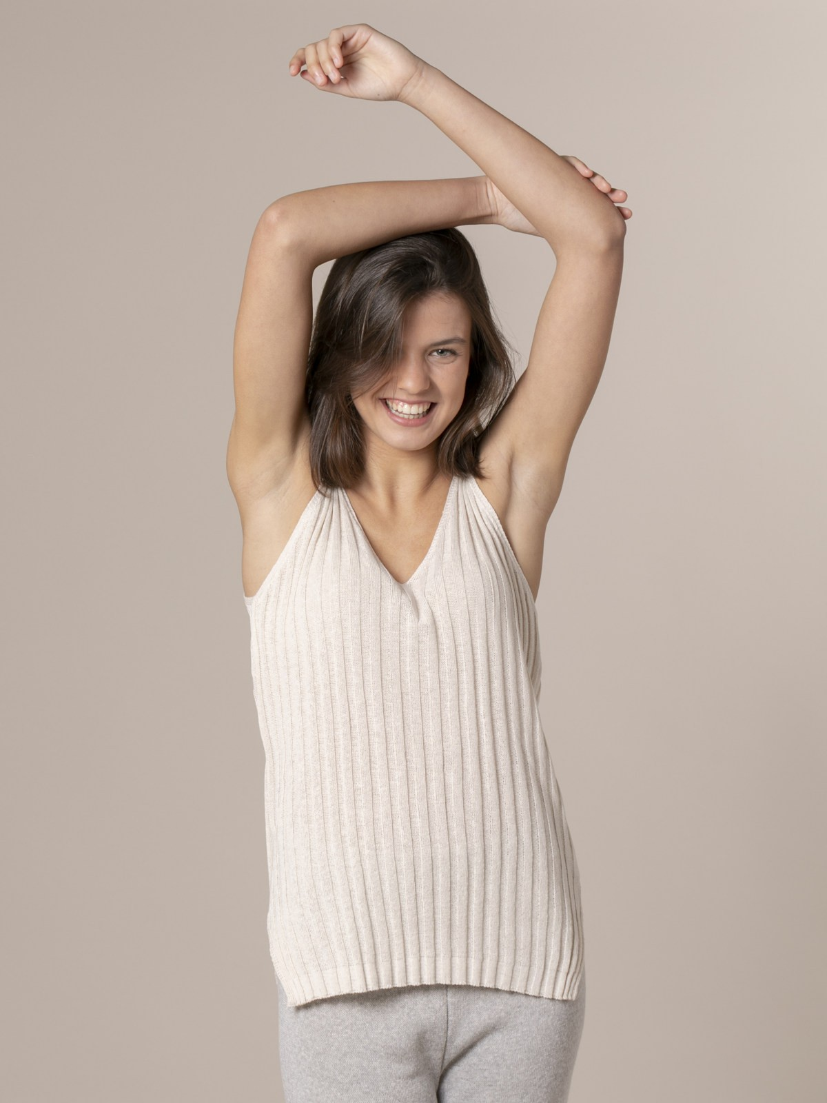 Woman Woman Cotton rib knit top Marfil