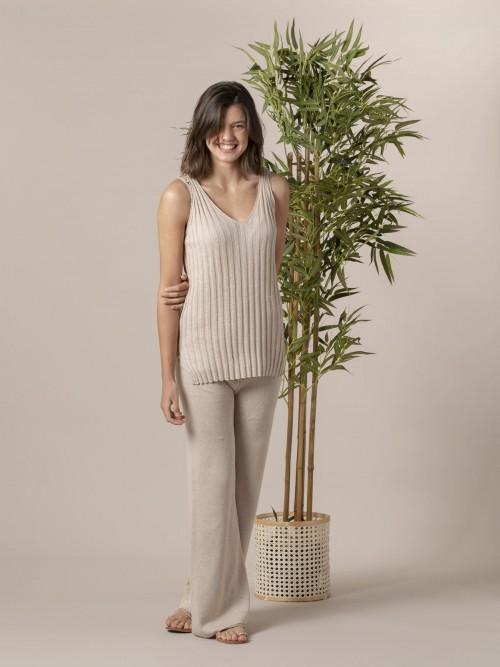 Woman Woman Cotton rib knit top Beige
