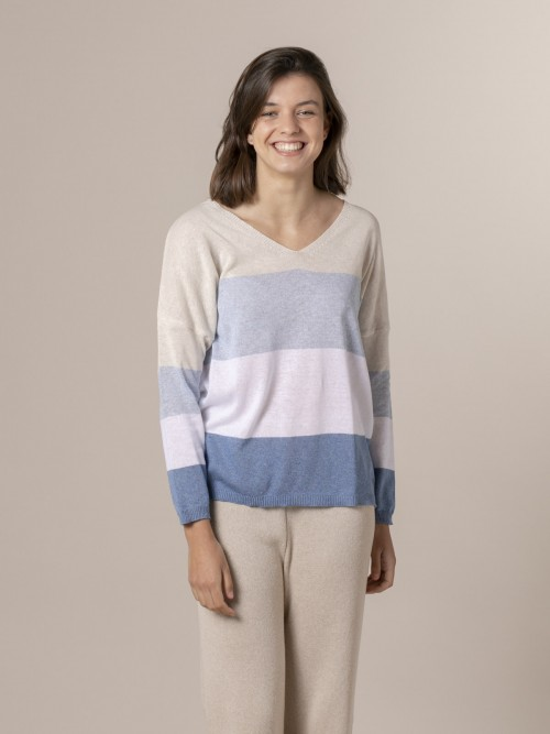 Woman Woman Striped V-neck sweater Blue