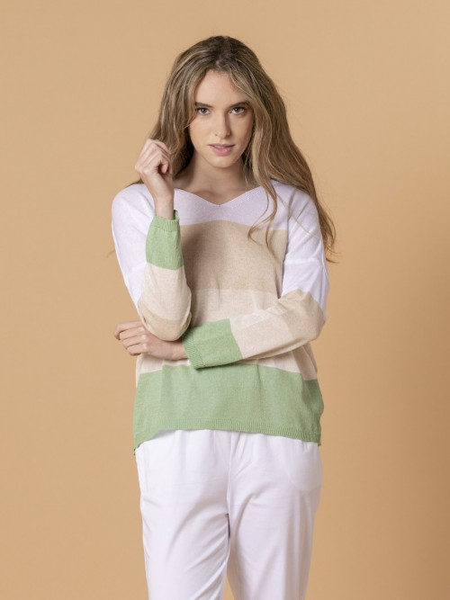 Woman Woman Striped V-neck sweater Green