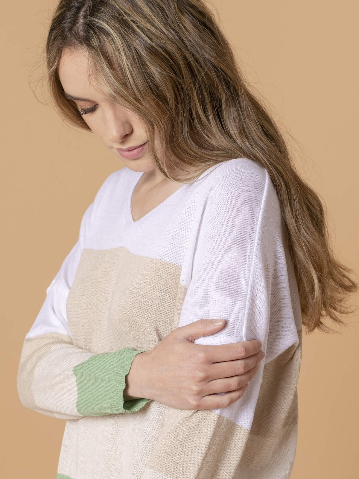 Jersey mujer de rayas y cuello pico Verde