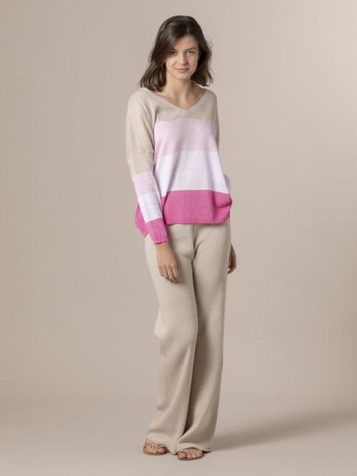 Woman Woman Striped V-neck sweater Pink