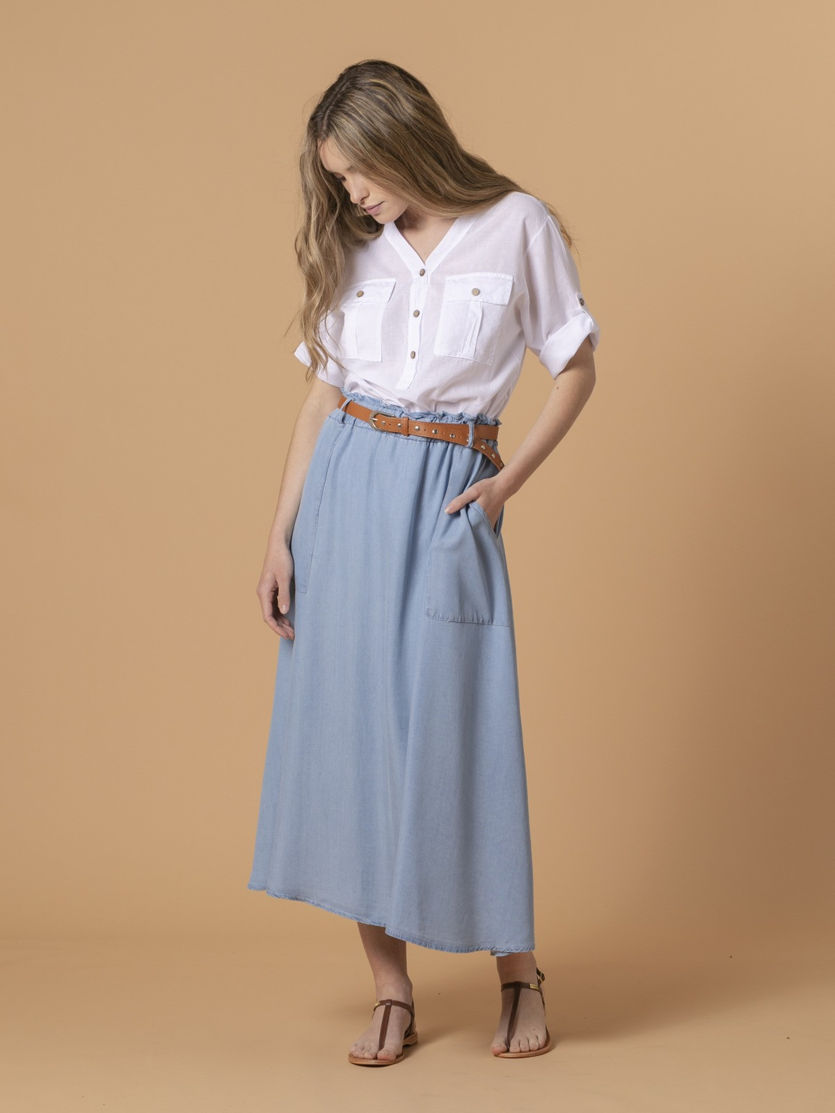 Woman Woman Tencel fluid skirt Blue Jean