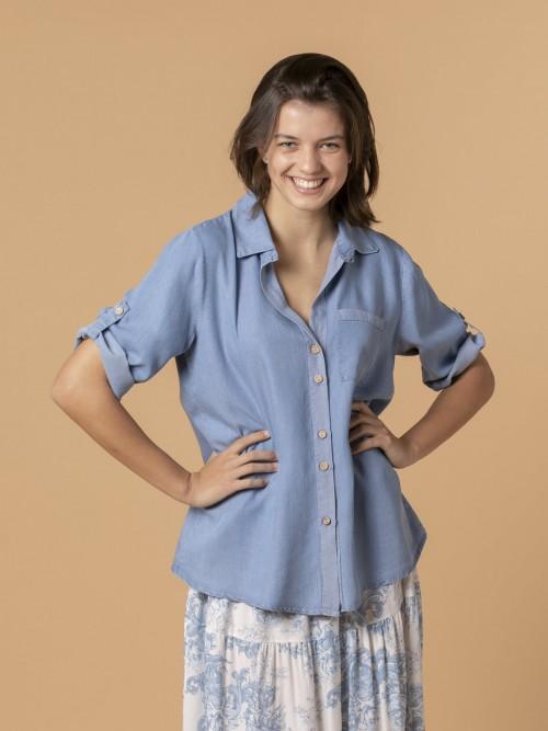 Camisa mujer tencel Azul Jean